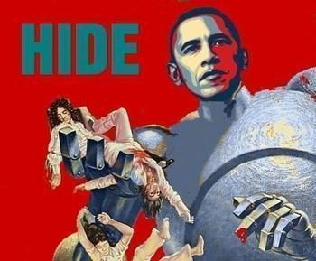 obama as killer giant robot from queen album cover